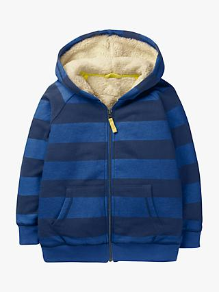 Mini Boden Boys' Fuzzy Lined Hoodie, Blue