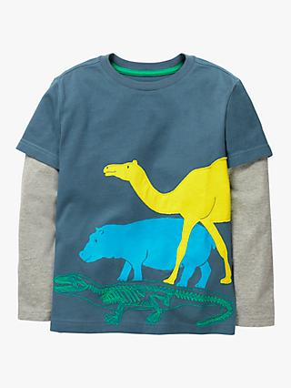 Mini Boden Boys' Textured Animal Long Sleeve T-Shirt, Blue