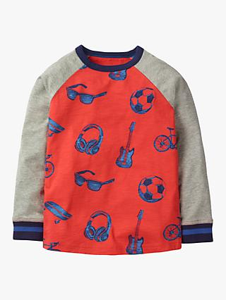 Mini Boden Boys' Sporty Print Raglan T-Shirt, Red