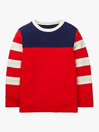Mini Boden Boys' Sporty Colour Block T-Shirt, Red