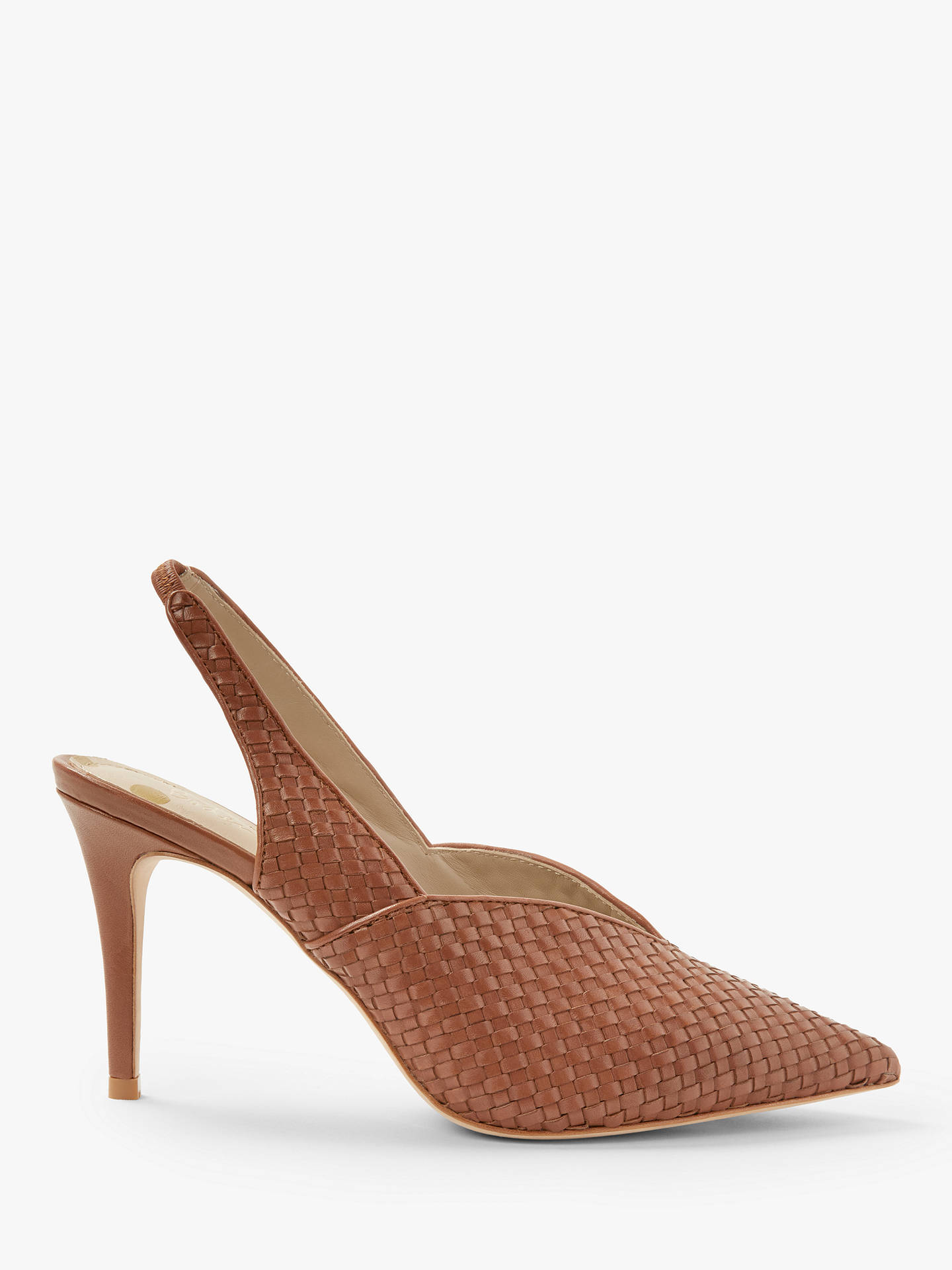 fed39919ed033 Buy Boden Hazel Woven Slingback Stiletto Heel Court Shoes, Tan Leather, 5  Online at ...