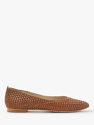 Boden Hazel Woven Pointed Flat Pumps, Tan Leather