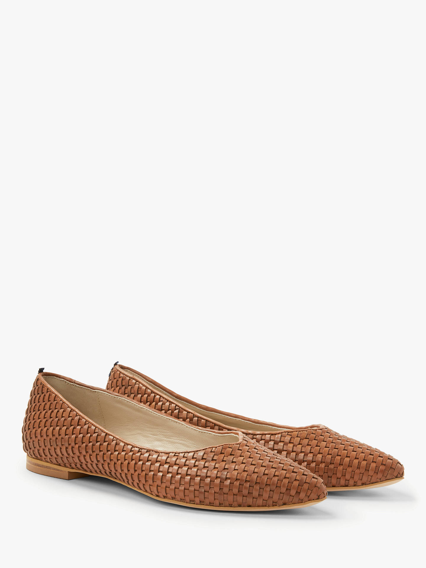 79390c7ff66a4 Boden Hazel Woven Pointed Flat Pumps, Tan Leather