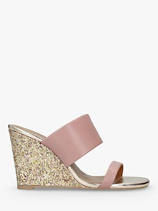 Kurt Geiger London Charing Wedge Heel Sandals, Mid Pink Leather