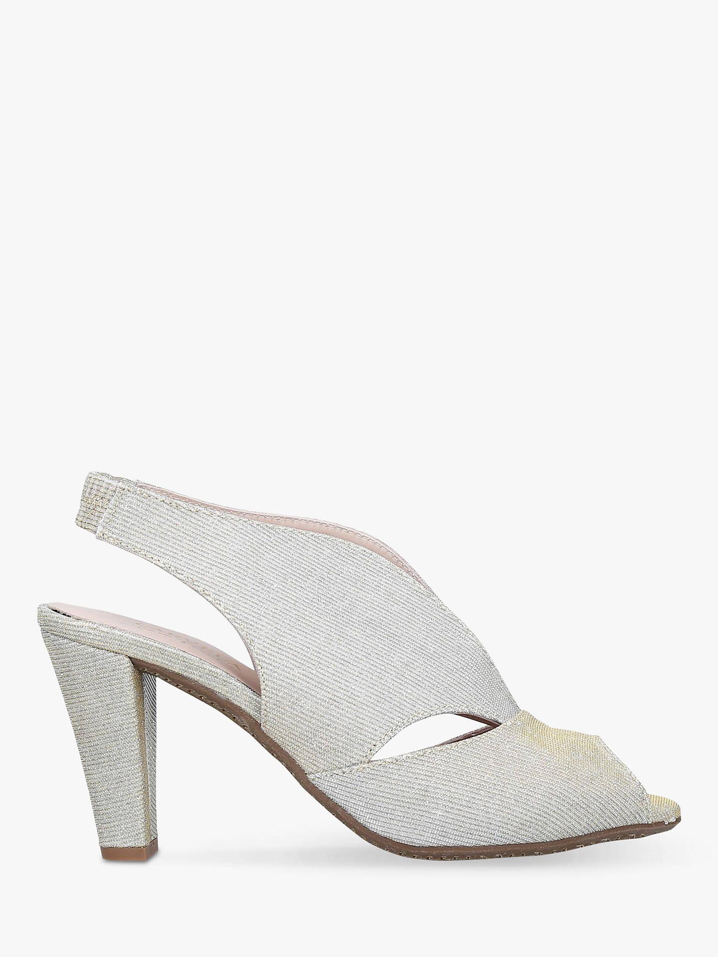 6f6b28b752 Buy Carvela Comfort Arabella Cone Heel Open Toe Court Shoes, Gold Fabric, 3  Online ...