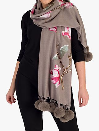 Chesca Embroidered Floral Pom Trim Wrap, Mink