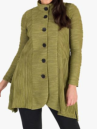 Chesca Jacquard Wave Crinkle Jersey Coat, Lime