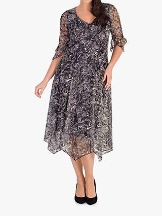 Chesca Stretch Lace Jersey Dress, Ivory/Black
