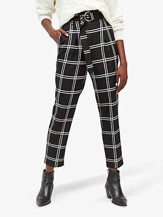 Warehouse Large Check Cigarette Trousers, Black