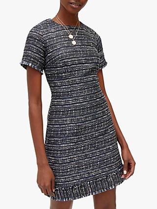 Warehouse Tweed Fringe Dress, Navy