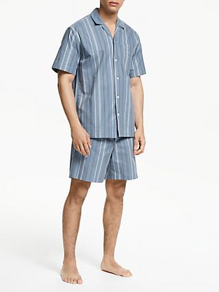 Popular Brand Plus Size 100% Cotton Mens Summer Woven Short-sleeved Shorts Pajamas Set Male Sleep Classic Plaid Style V-neck Home Sets Excellent In Cushion Effect Men's Pajama Sets