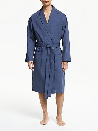 John Lewis & Partners Pinstripe Dressing Gown, Blue