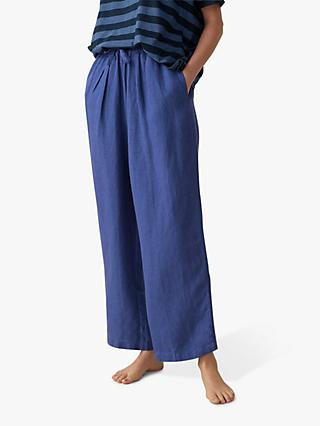 Toast Garment Dyed Linen Japanese Trousers, Lapis Blue