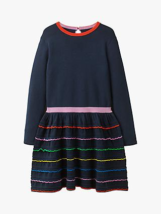 Mini Boden Girls' Rainbow Ruffle Knitted Dress, Blue/Multi