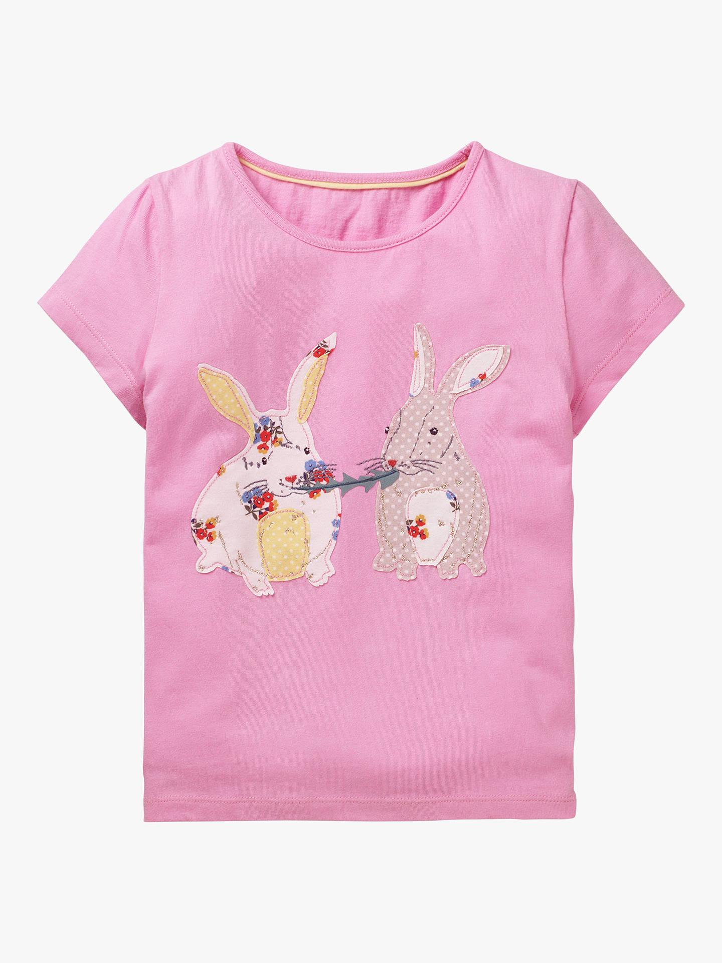 8b11c61bcd Mini Boden Girls' Bunny Applique T-Shirt, Pink at John Lewis & Partners