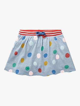 Mini Boden Girls' Polka Dot Print Jersey Skirt, Blue