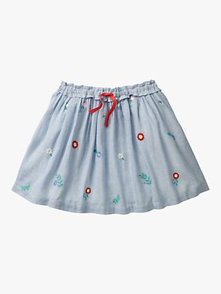 Mini Boden Girls' Pretty Floral Embroidered Skirt, Light Blue
