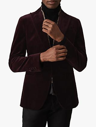 Reiss Plaza Velvet Slim Fit Blazer, Bordeaux