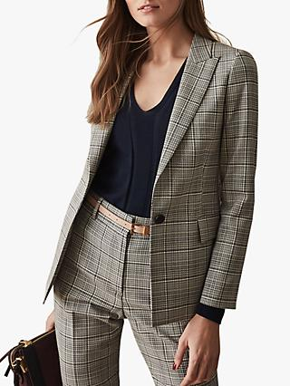 Reiss Alenna Check Jacket, Black/White