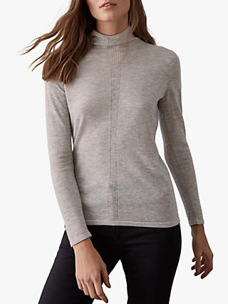 Reiss Amberly Roll Neck Jumper, Grey Marl