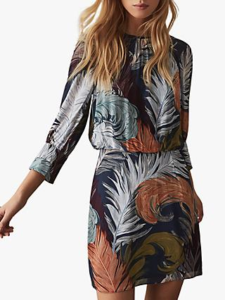 Reiss Namina Feather Print Mini Jersey Dress, Multi