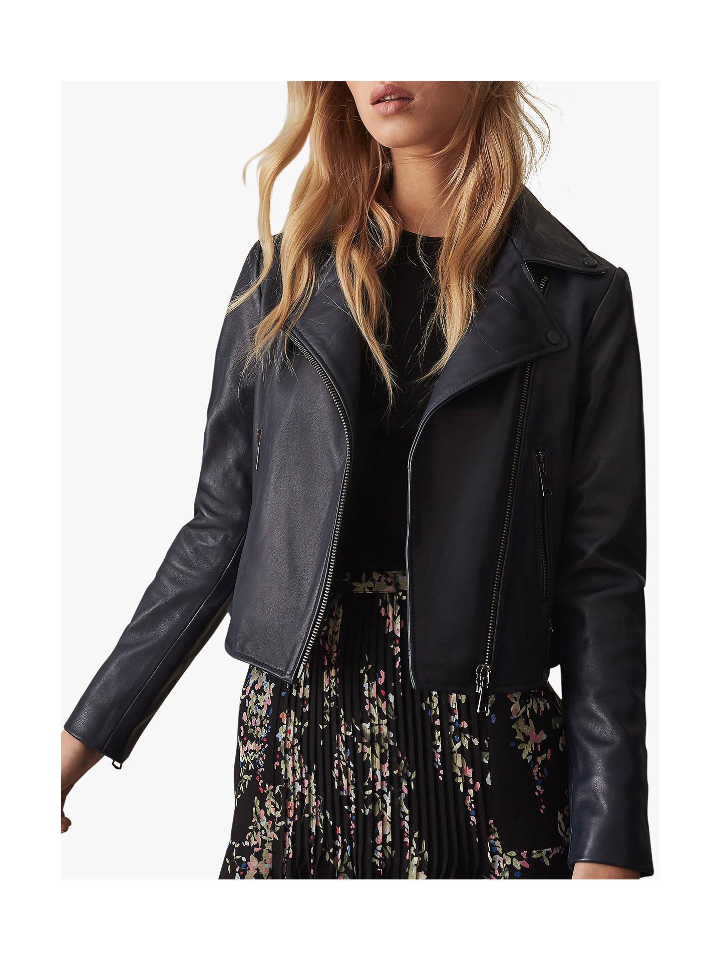 8e9644808 Reiss Sadie Leather Biker Jacket, Ink