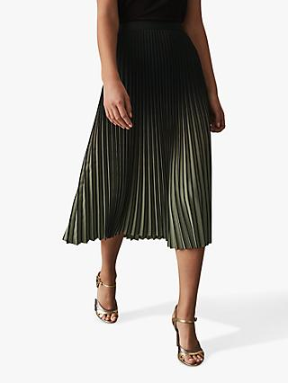 Reiss Marlie Two Tone Pleat Midi Skirt