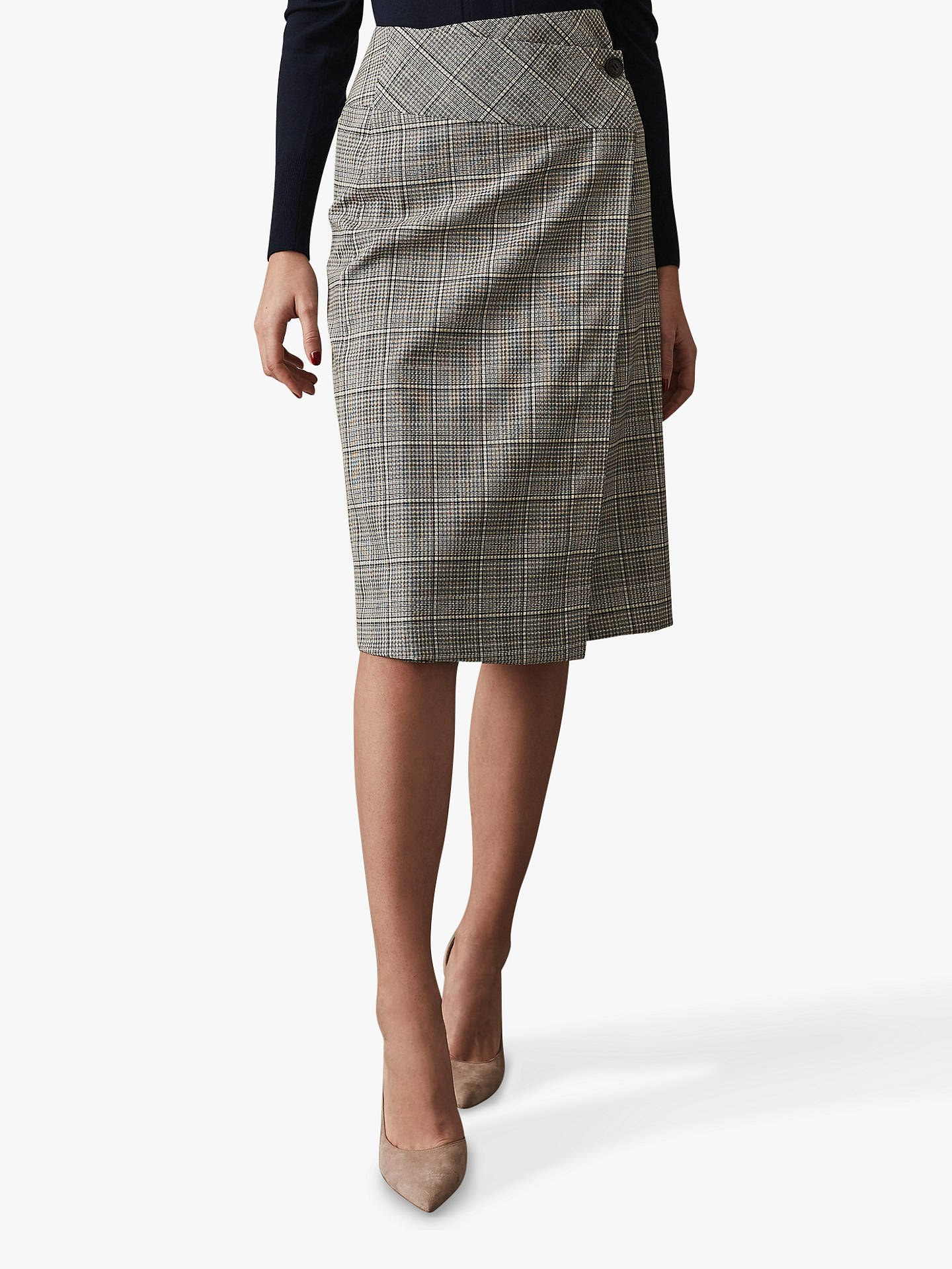 73408bbbdec3 Buy Reiss Alenna Check Tailored Pencil Skirt, Black/White, 6 Online at  johnlewis ...