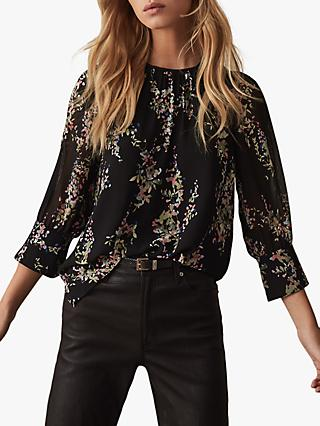 Reiss Pisa Printed Long Sleeve Top, Black