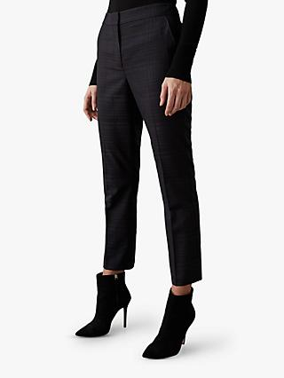 Reiss Margot Check Tapered Trousers, Navy
