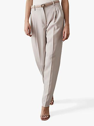 Reiss Esme Pleat Front Tapered Trousers, Clay