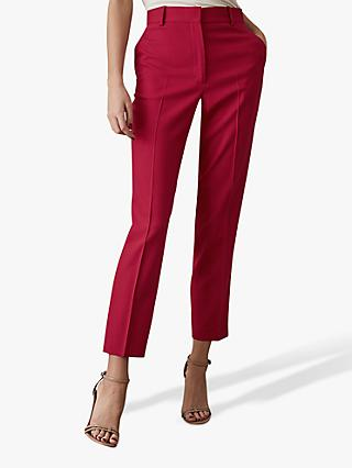 Reiss Livvi Slim Leg Tailored Trousers, Magenta