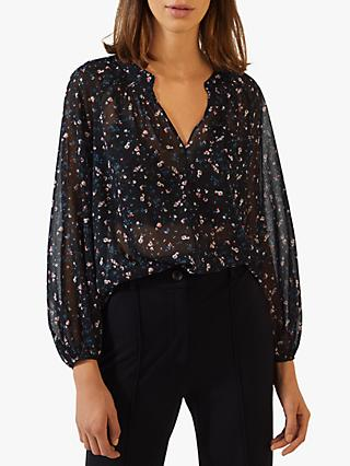 Jigsaw Mini Blossom Sheer Top, Black