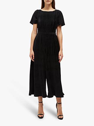 French Connection Aurore Lace Back Velvet Jumpsuit, Black