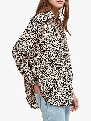 a444c05a48969d French Connection Animal Print Collarless Over Shirt