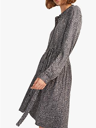 French Connection Brunella Leopard Print Shirt Dress, Neutral