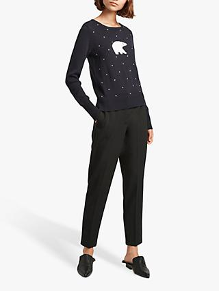 French Connection Polar Bear Knit Jumper, Blue Multi