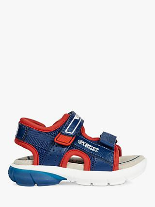 Geox Children's Flexy Light Up Sandals, Navy/Red