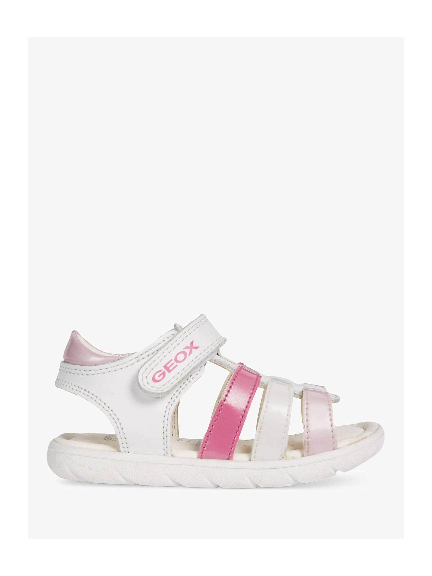 8be3efbc865b Geox Children's S Alul Riptape Sandals, White/Pink at John Lewis ...