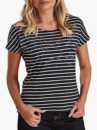 d3faec55bcaa Barbour Heavenfield Fish Print Stripe T-Shirt, Navy
