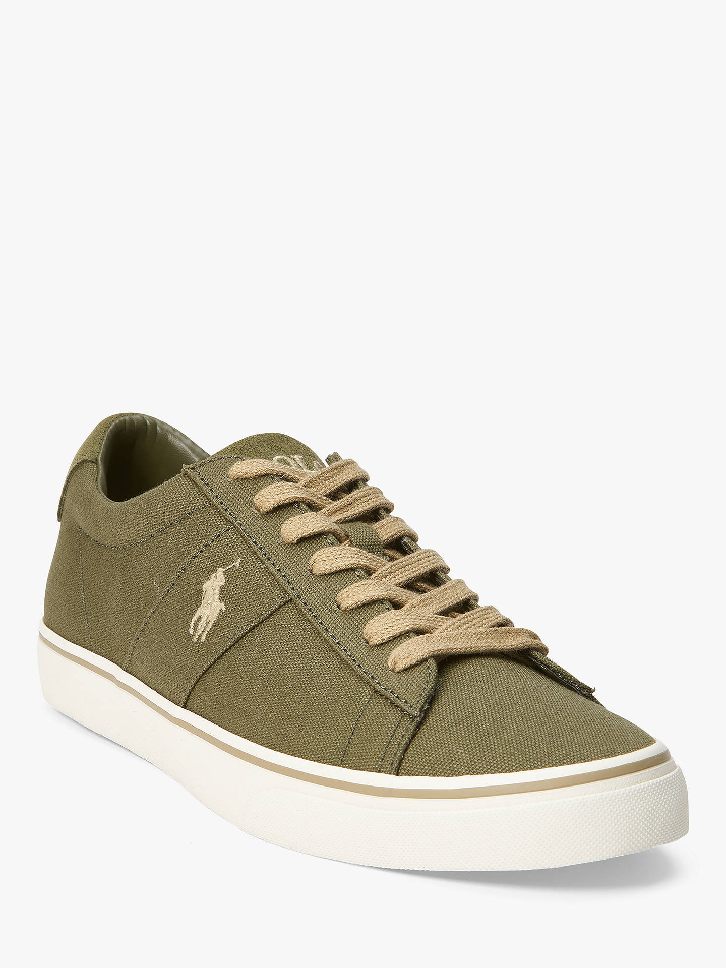BuyPolo Ralph Lauren Sayer Canvas Trainers, Field Sage, 9 Online at johnlewis.com