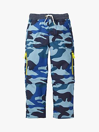Mini Boden Boys' Zip Off Techno Trousers, Blue Camouflage