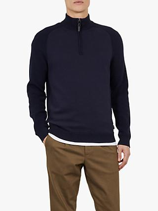Ted Baker Shurton Mix Funnel Neck Jumper, Navy