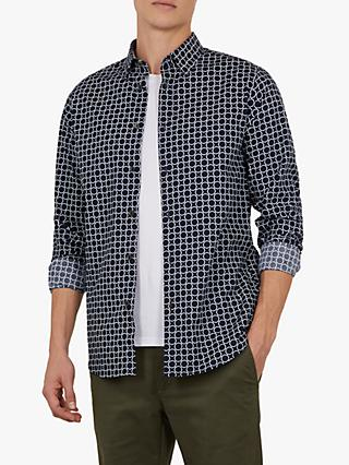Ted Baker Wiggle Geometric Print Shirt, Navy Blue