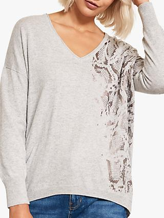 Mint Velvet Snake Print V-Neck Knit, Light Grey