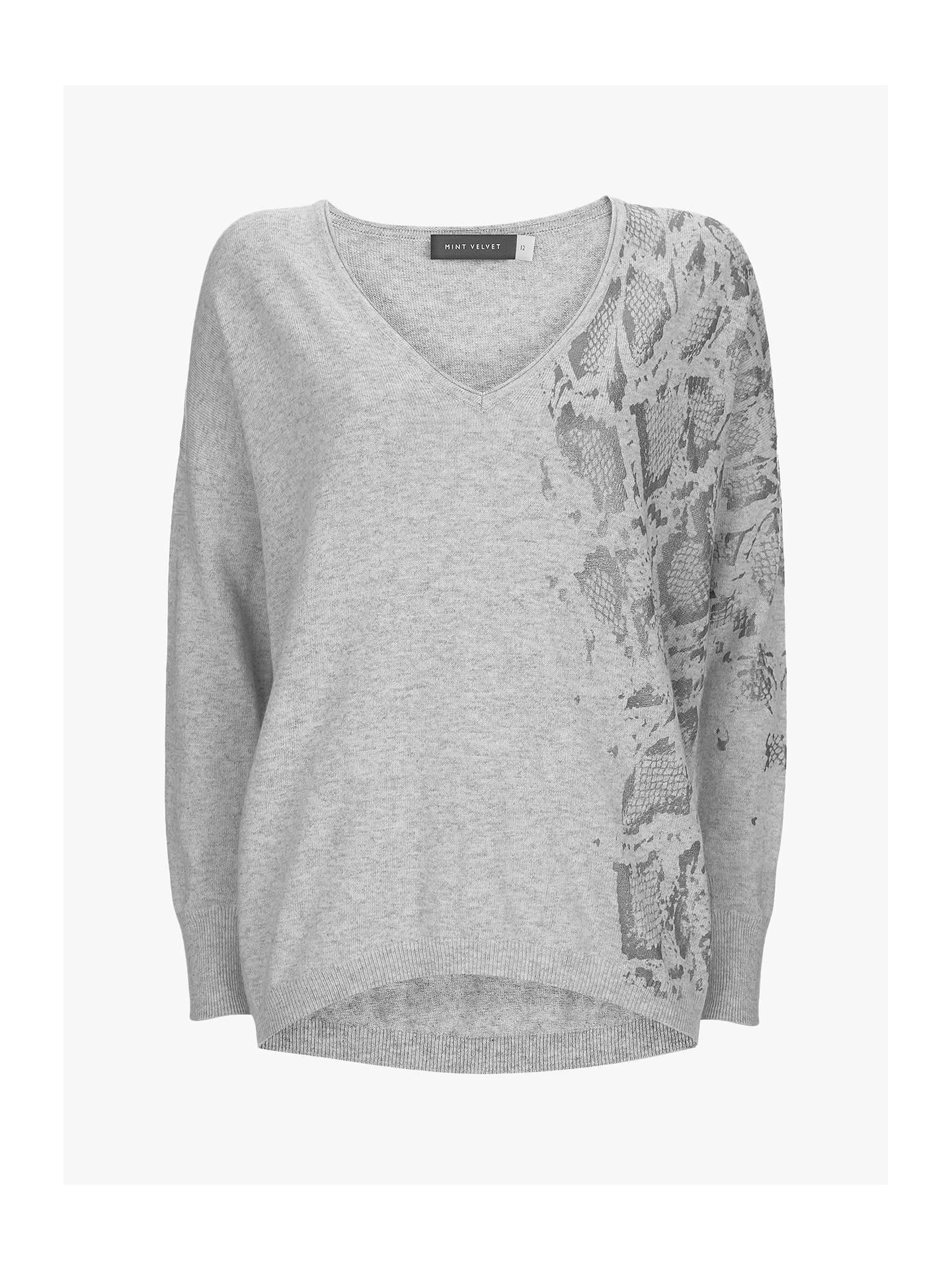 how to buy performance sportswear best online Mint Velvet Snake Print V-Neck Knit, Light Grey at John ...