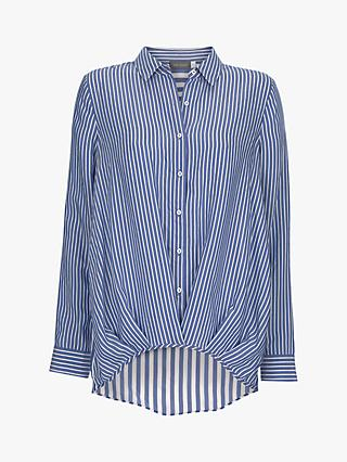 Mint Velvet Striped Hem Shirt, Blue/Multi