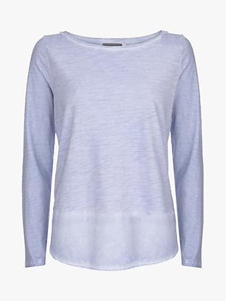 Mint Velvet Woven Hem Long Sleeve T-Shirt, Light Blue
