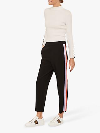 Mint Velvet Sporty Side Stripe Trousers, Black