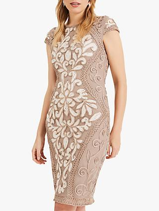 Phase Eight Perdy Tapework Lace Dress, Latte/Cream